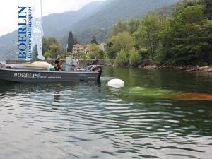 Bergung einer Riva Aquarama aus 20 m Tiefe nahe der Ortschaft Zenna (I), Lago Maggiore.