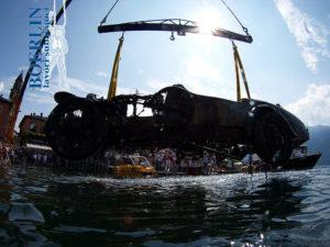 Bergung des Wracks eines 1936 versunkenen Bugatti Brescia Typ 22, Baujahr 1925 aus einer Tiefe von ca. 52 m in Ascona, Lago Maggiore, 2008/2009.