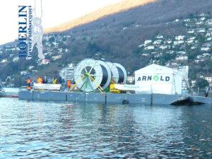 Posa di ca. 35 km di cavo di fibre ottiche tra Caslano-Morcote-Riva S. Vitale, Lago di Lugano.