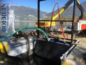 Saugbaggerung in Magadino, Lago Maggiore