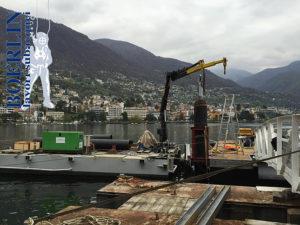 Einrammung vom 2 Fundamentpfosten (15 m x 60 cm) für Katjaboat